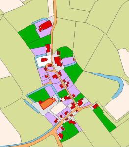 Kaart Oosterwijtwerd centrum - dorpstraat Oosterwijtwerd in 1832