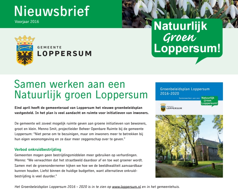 nieuwsbrief groen loppersum