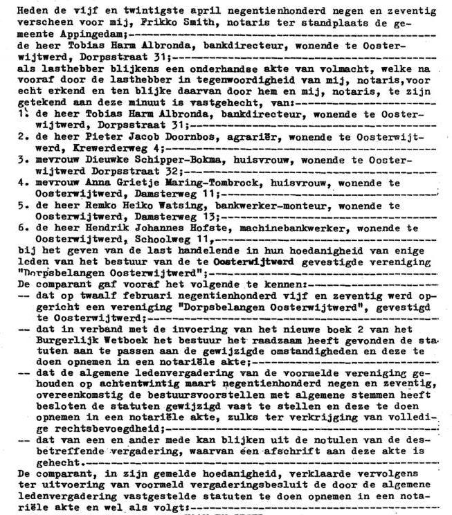 Dorpsbelangen Oosterwijtwerd statuten blz 1